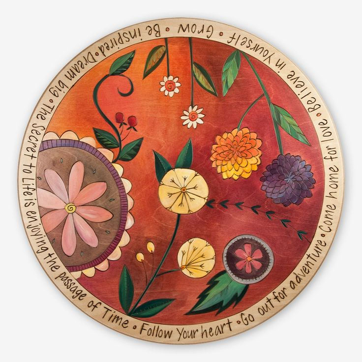 Wow! This Lazy Susan is beautifully handcrafted, etched and painted by the incredibly talented Artisans at Sticks. Whether in use or not, with gorgeous colors and great sayings, this Lazy Susan makes