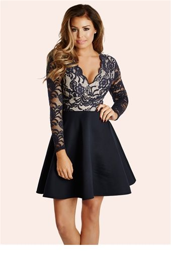 Jessica Wright Tammy Navy Skater Dress