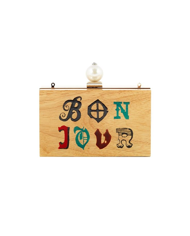 """CECILIA MA """"Bon Jour"""" wooden clutch bag hand painted front decoration with white pearl gold steel trim removable brass shoulder strap  top latch closure Size: 18x11x5,5 cm"""