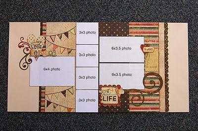 awesome scrapbook.site: Scrapbook Ideas, Scrapbooks, Landscape Photos, Scrapbook Generation Sketch, Scrapbook Layout For 3 Photos, Kits Club, Scrapbook Sketch, Scrapbook Pages, Double Pages Scrapbook Layout