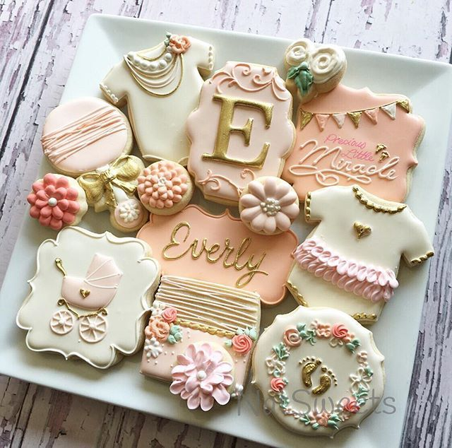 Pink, Cream & Gold Shabby Chic Baby Girl Cookies