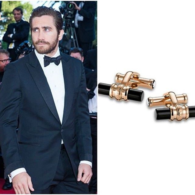 American Member of the Jury actor Jake Gyllenhaal wearing Montblanc cufflinks in red gold and onyx.