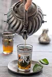 Moroccan Mint Tea - absolutely delicious, and I wouldn't mind having that pot and cups in my kitchen