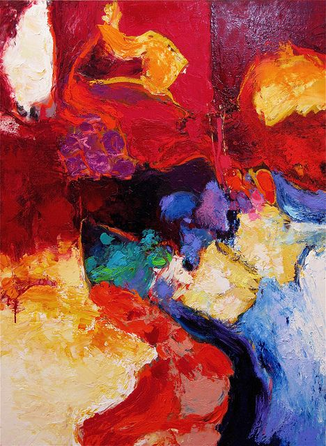 """""""Chez Pierre"""" - French Stricher Gerard, a 65 year-old abstract painter, creates mostly large-scale works of vibrant color on multiple themes, including people. Stricher has become better known in the U.S. in the past few years and he is now represented by Gallery Schwab Beaubourg in Paris and the Canfin Gallery in New York"""