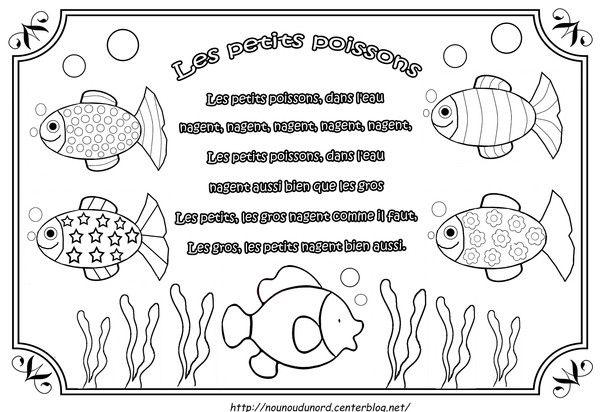 Comptine les petits poissonsillustrée par nounoudunord Imprimer le coloriage grand format en fichier PDF cliquez :.ici. cliquez.ici.pour découvrir d' autres comptines. comptine en vidéo cliquez/ici/ ...