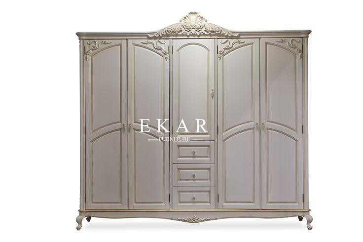 Bedroom Furniture , Antique White Wooden Wardrobe ,5 Doors , 2 Drawers,Wardrobes