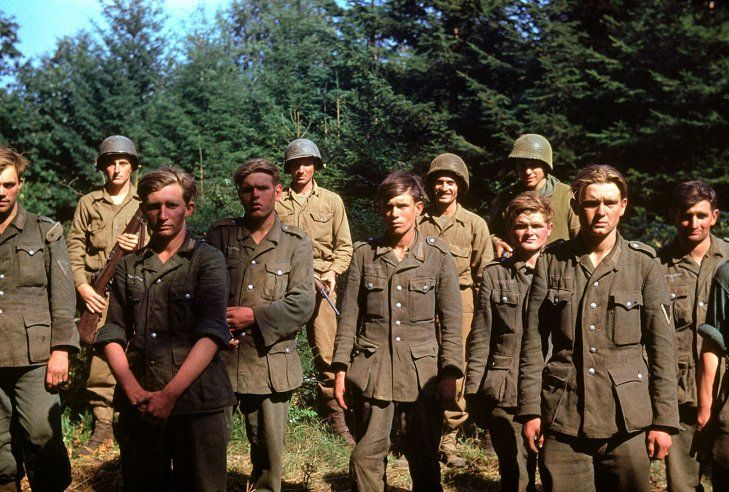 From D-Day until Christmas 1944, German prisoners of war were shipped off to American detention facilities at a rate of 30,000 per month. Above: Captured German troops, June 1944.: American Detention, Color, June 1944, Christmas 1944, War Ii, German Troops, Photo