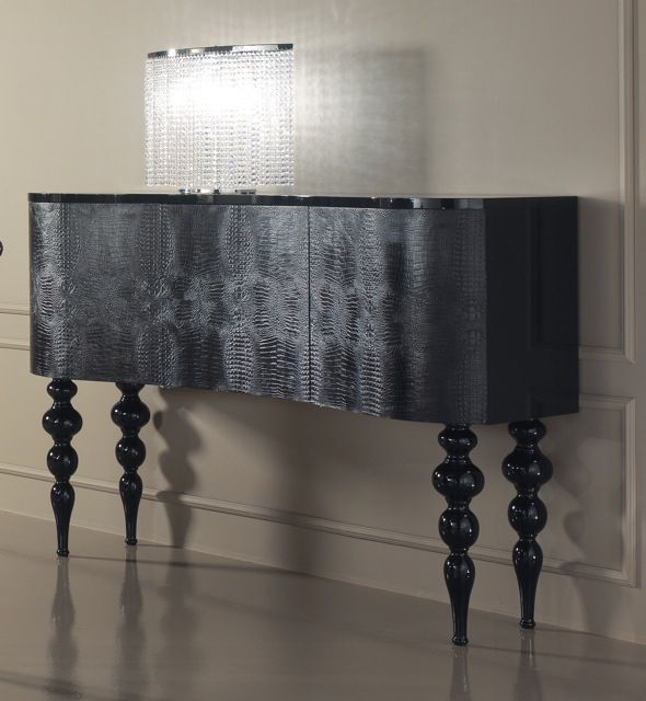 Diva Collection Elegance 3 door sideboard shown here in black alligator skin with high black gloss top and turned bubble legs