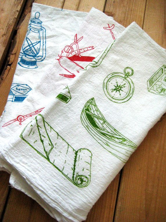 camp teatowels by oh little rabbit: Cotton Camps, Organic Cotton, Kitchens Towels, Camps Equipment, Teas Towels, Tea Towels, Organizations Cotton, Flour Sacks Towels, Dishes Towels