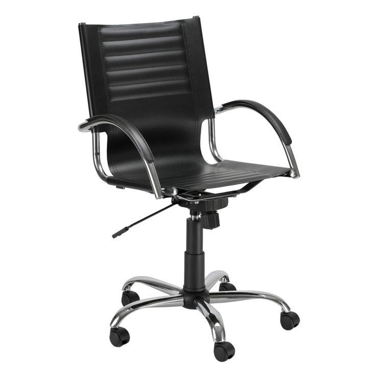 € 59,50 mod. 3032 #sedia da #ufficio direzionale, base cromata a 5 razze, ruote piroettanti, alzata a gas certificata, seduta ergonomica, rivestimento in ecopelle di colore #nero in #offerta #prezzo #outlet #sconto 60% su www.chairsoutlet.com
