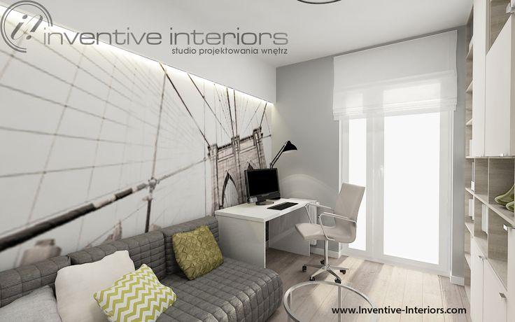 Projekt gabinetu Inventive Interiors - fototapeta w nowoczesnym gabinecie