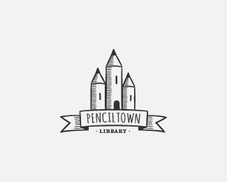 Penciltown Logo design - Inspirated in middle age's towns, this illustrated logo could work in multifarious categories, like: library, offices