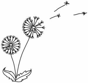 Little parachutes of dandelion seeds float away on the breeze, like a summertime dream. Downloads as a PDF. Use pattern transfer paper to trace design for hand-stitching.