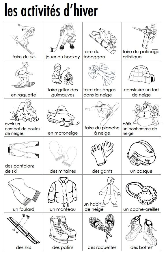 French visual dictionary of winter activities