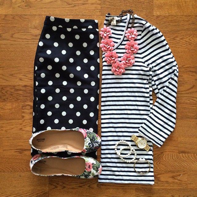 Striped Top, Polka Dot Pencil Skirt, Floral Flats | #workwear #officestyle #liketkit | www.liketk.it/1ajPv | IG: @whitecoatwardrobe
