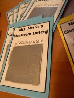 Every student who complete their homework assignments all week will get to choose a classroom lottery card on Friday morning. This is an AMAZING idea!