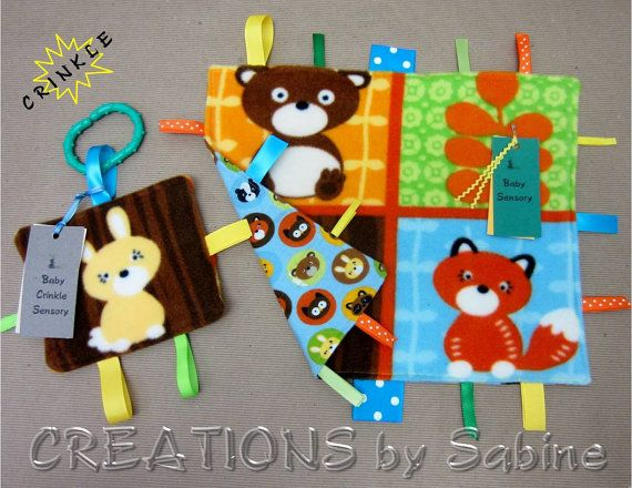 Gift Set: Baby Sensory Tag Blanket & Crinkle Toy / Woodland Animals / Rabbit Bunny Bear / Blue Brown / Forest Nature / READY TO SHIP (176) on Etsy, $22.00