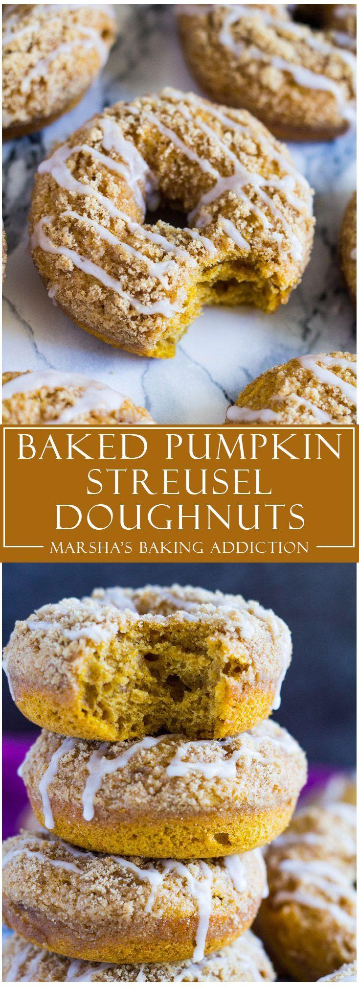 Baked Pumpkin Streusel Doughnuts   http://marshasbakingaddiction.com /marshasbakeblog/