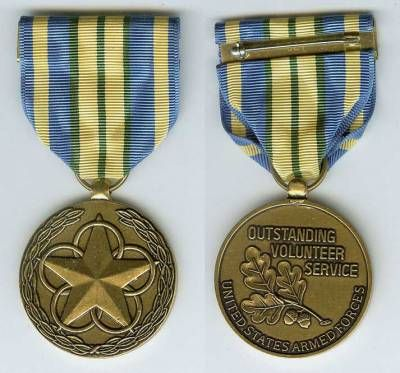 The Military Outstanding Volunteer Service Medal (MOVSM) is a military award which was created under Executive Order 12830 by George H. W. Bush on January 9, 1993.  The MOVSM recognizes those members of the military (active duty, reserve and national guard) who perform substantial volunteer service to the local community above and beyond the duties required as a member of the United States Armed Forces.