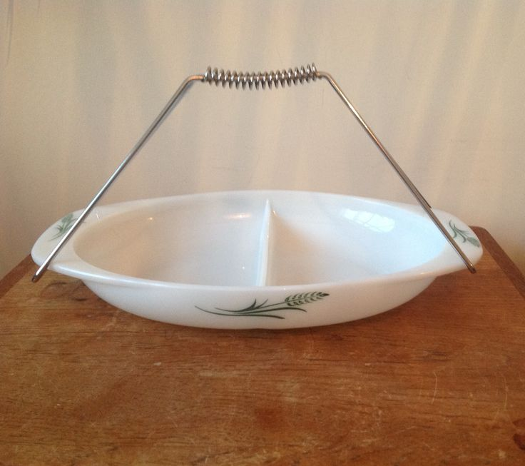 """JAJ Pyrex 1961 Green Wheatsheaf """"snack server"""" designed to let you heat party snacks and serve them to your guests!"""