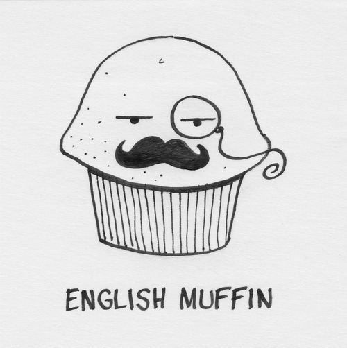 English muffin - Funny cartoon with English muffin wearing a monocle and mustache.