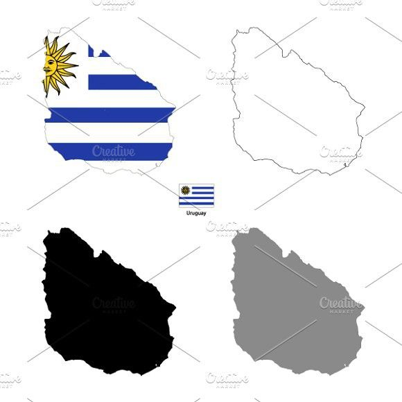 Uruguay country silhouettes. Objects. $5.00