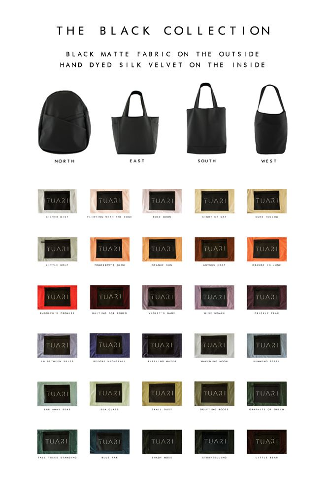 The Black Collection - color overview 30 different silk velvet lining colors!