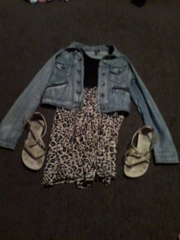 Leopard print dress with denim jacket and gold sandals.