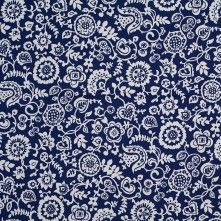 Navy and Ecru Stretch Cotton Poplin Floral Print