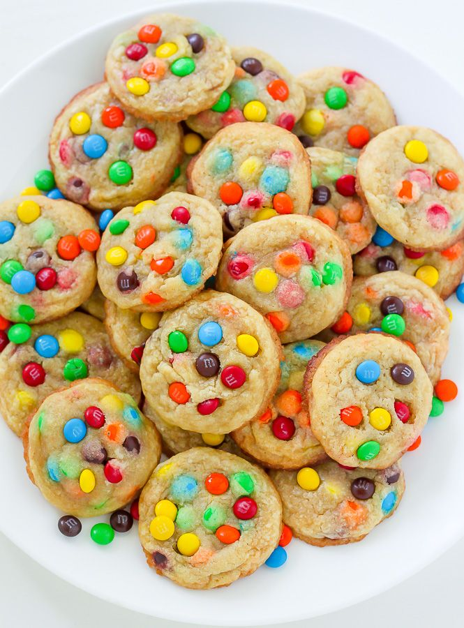 Chewy and delicious M&M Cookie Bites! Super easy to make and perfect for parties.