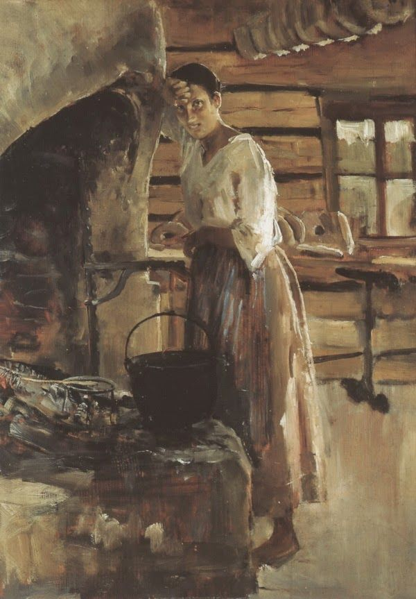Akseli Gallen-Kallela (26 aprilie 1865 - 7 martie 1931), pictor şi grafician finlandez - Women roasting fish