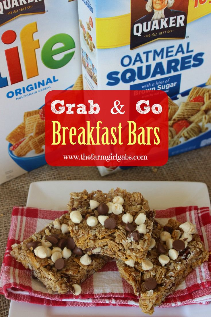 These Grab & Go Breakfast bars are made with Quaker Cereal. Perfect for an on the go breakfast or snack. #Spon #QuakerUp #LoveMyCereal