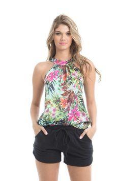 blusinhas femininas de cetim da moda floral                                                                                                                                                     Mais