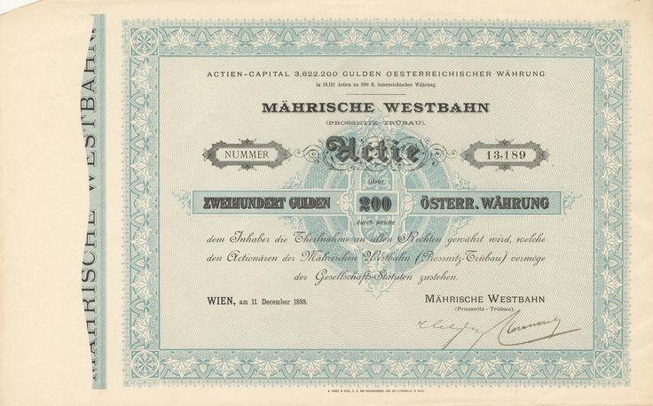 Mährische Westbahn (Prossnitz – Trübau) (Moravská západní dráha (Prostějov - Třebová). Akcie na 200 Zlatých. Vídeň, 1888.