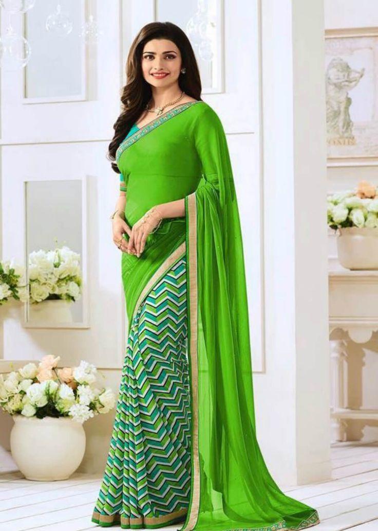 Green Half N Half Leriya Saree- Indiana Lifestyle Online Shopping