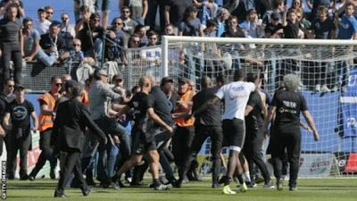 French League! Bastia Vs Lyon abandoned after fans attacked players