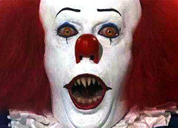 Tim Curry as Pennywise (from Stephen King's It)--making me terrified of clowns and obsessive about looking down storm drains since 1990.