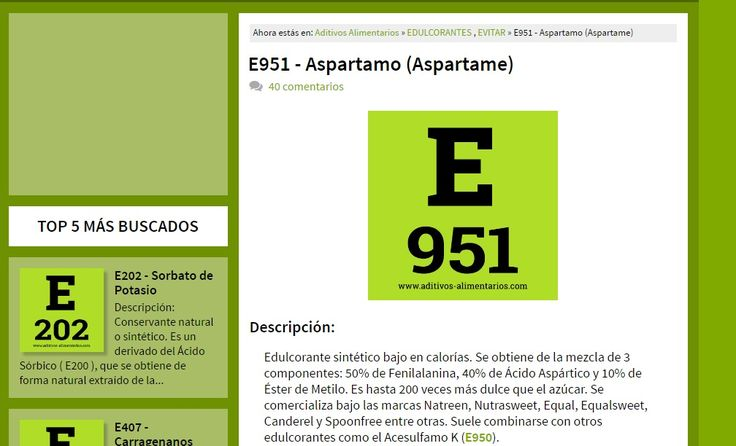 Evita el consumo excesivo de edulcorantes artificiales como el Aspartame. Revisa lo que te estas tomando. www.aditivos-alimentarios.com