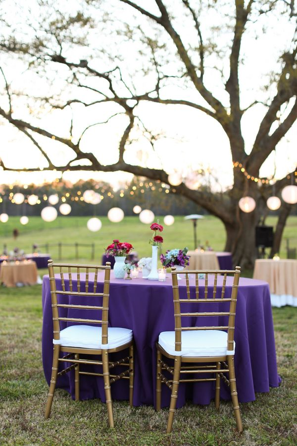 Purple Linens For Cocktail Hour