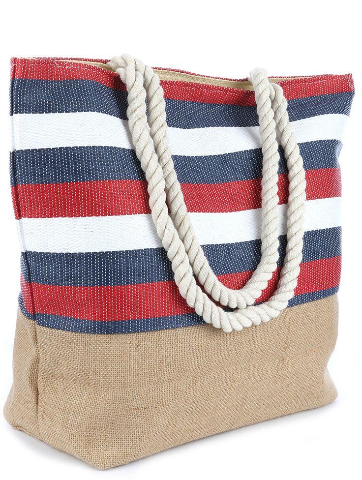 Red White And Blue Stripe Print Beach Tote Accessory Bag