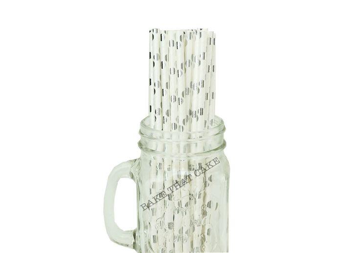 25 x Polka Dot Silver Foil White Paper Drinking Straws Wedding Party Drink