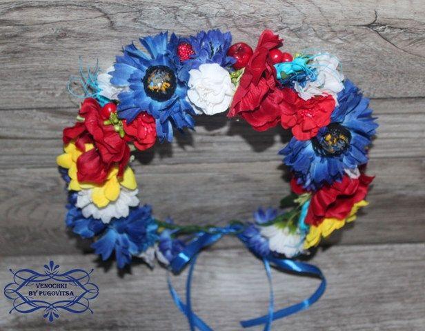 Купить красивый ободок с цветами или веночек на голову или ободок половинкой…