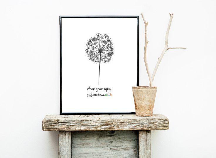 'Make a Wish' Print. Nursery print. Baby print. Nursery decor. Kids room. Kids room decor. Kids print. Wall Art. Dandelion.