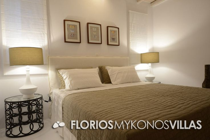 Upper Floor: 1 Master Bedroom with ensuite bathroom + balcony, 1 Master Bedroom with ensuite bathroom, 1 Twin Bed + bathroom. FMV1327 Villa for Rent on Mykonos island Greece. http://florios-mykonos-villas.com/property/fmv1327/
