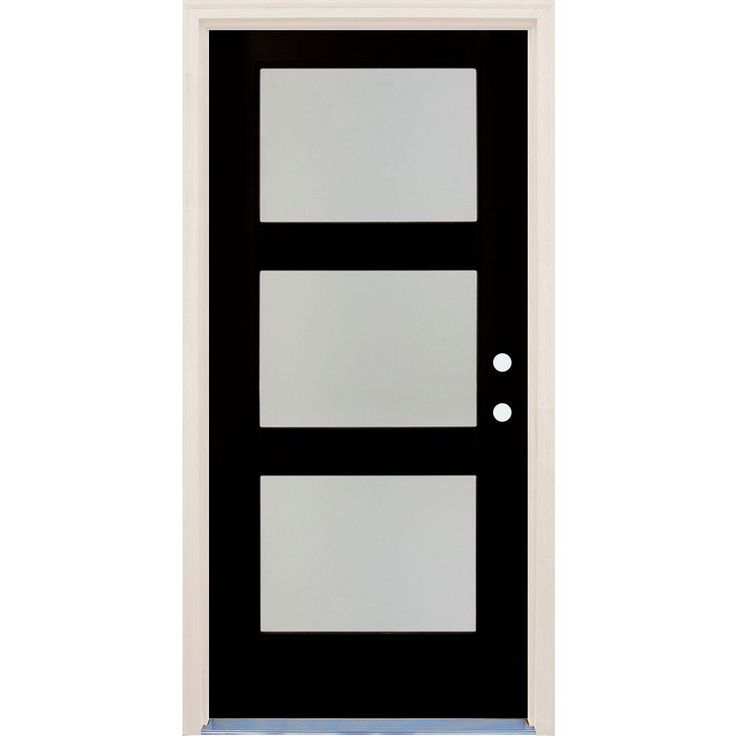 Builders Choice 36 In X 80 In Elite Inkwell Rh 4 Lite Satin Etch Glass Contemporary Painted Fiberglass Prehung Front Door W Brickmould Hdxd184523 Modern Exterior Doors Modern Door Modern Front Door