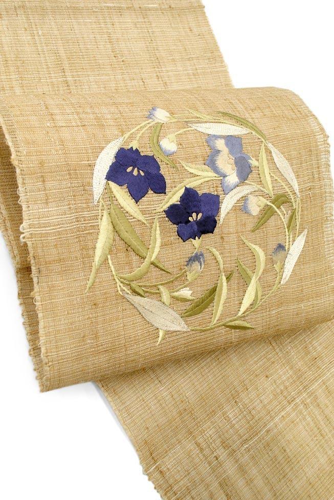 工芸キモノ野口 創作正絹刺繍九寸名古屋帯 野蚕三越手織地 「桔梗の丸」