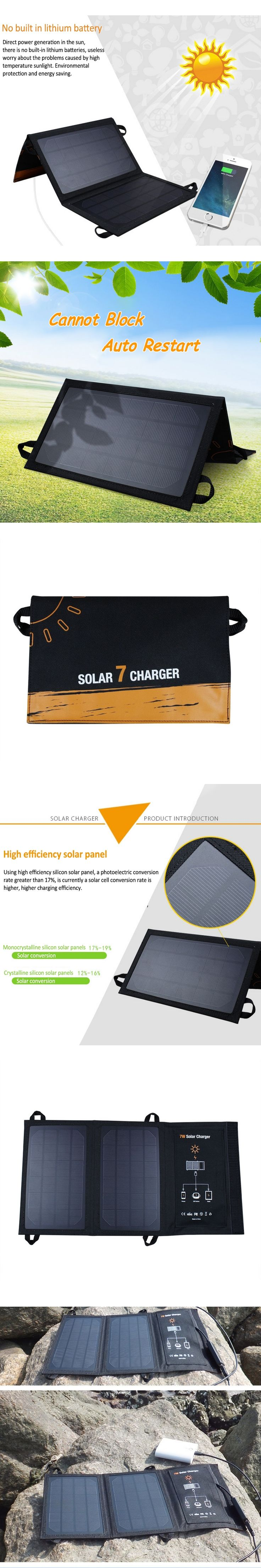 Portable 7W 5V Folding Monocrystalline Solar Panel USB Smart Solar Charger Waterproof No Need Battery