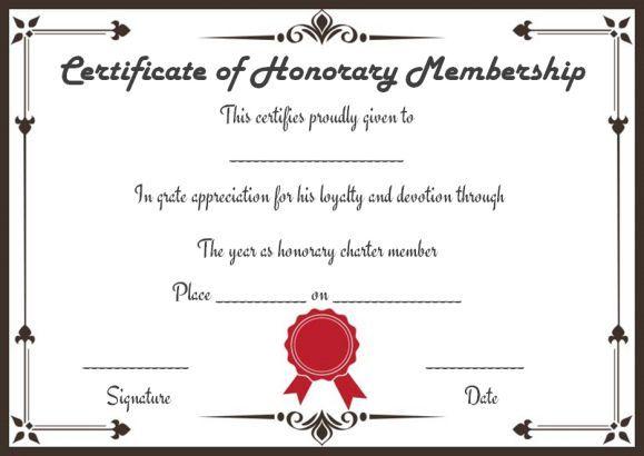 Free Honorary Life Membership Certificate Templates