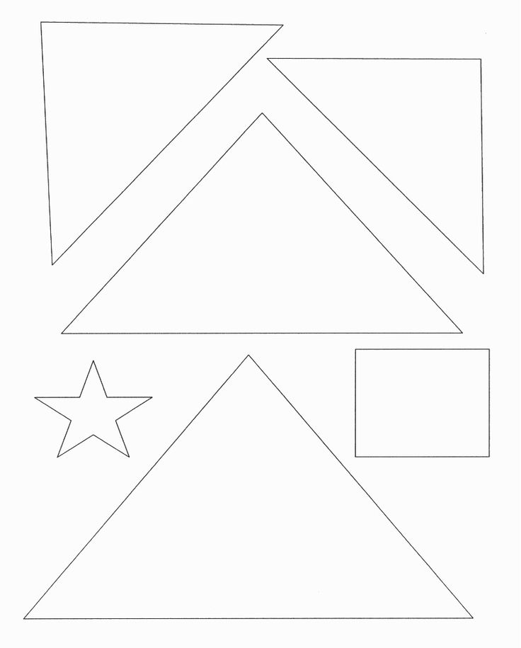 Christmas tree template with shapes (star, square, triangle) and then color and decorate. Preschool