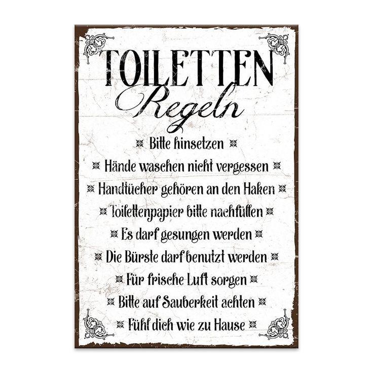 Holzschild Mit Spruch Toiletten Regeln Shabby Chic Retro Vintage Nostalgie Deko Typografie Grafik Bild Sch Holzschilder Mit Spruchen Holzschilder Toiletten